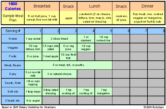 1600 Calorie Sample Meal Plan